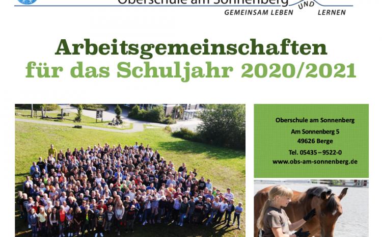 AG-Broschüre für das Schuljahr 2020/21